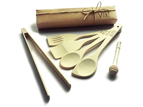Wooden Spoon, Wooden Spoons Spatula Tongs For Cooking, Honey Dipper Handmade Organic Wood Utensil For Kitchen, Natural Nonstick Hard Wood Spatulas And Wood Spoon Set, Premium Cooking Set