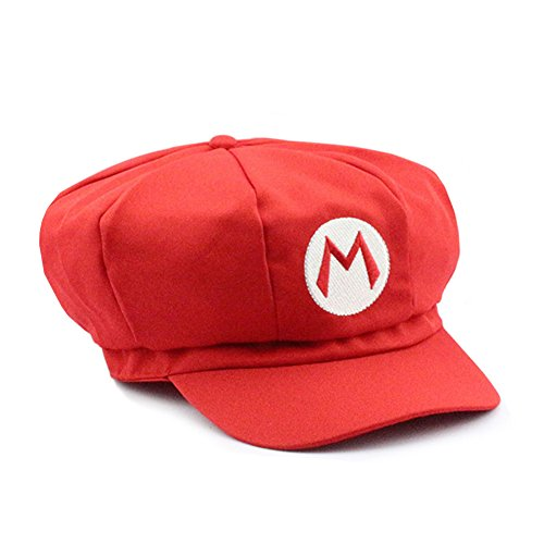 Waluigi Costume Adults (Mario and Luigi Embroidered Nintendo Cosplay Newsboy Hat - 2 Colors (One Size, Red))