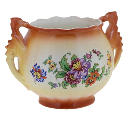 Vintage Marked Czecho-Slavakia Hand Painted Porcelain Open Sugar Bowl with Handles