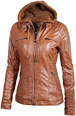 Womens Jackets Removable Hooded Pu Leather Jacket Ladies Motorcycle Leather Jacket