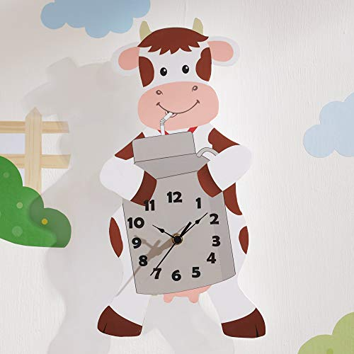 (Fantasy Fields TD-12657A Happy Farm Kids Wall Clock, White/Gray)