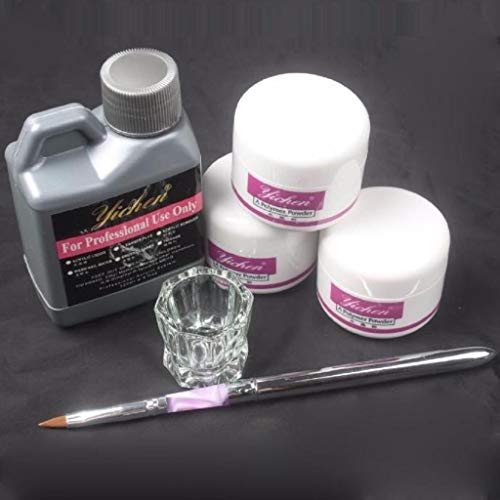 Rape Flower Pro Simply Nail Art Kits Acrylic Liquid Powder Pen Dappen Dish Tools Set (Kisses Lipstick Little Minerals)