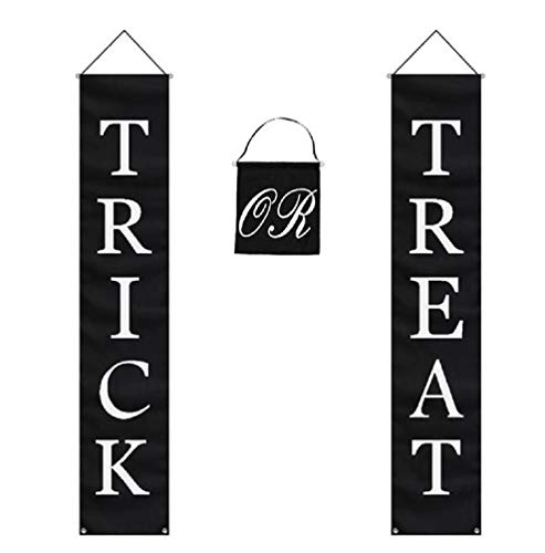 Trick or Treat Halloween Banner 3-Pc Set Home or Office Decor Ready To Hang]()