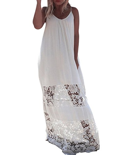 ZANZEA Ladies Strapless Sleeveless Vest Lace Crochet Beach Maxi Long Dress White 16