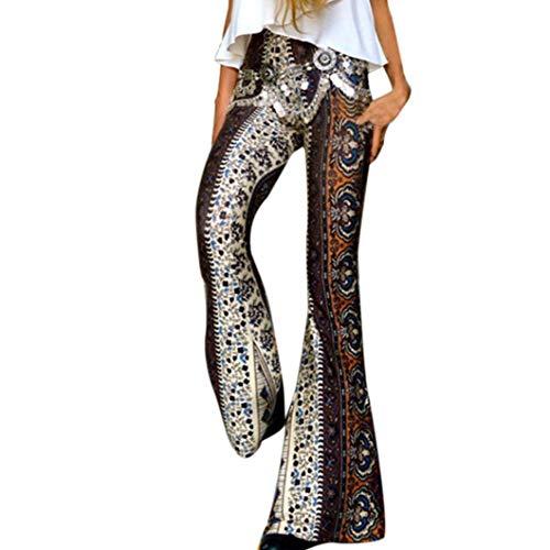 VEZAD Yoga Pants for Womens High-Waist Print Sports Pants Harem Bell-Bottoms Pants Brown
