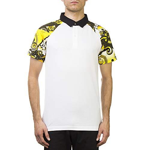 (Versace Jeans Couture Pima Cotton Baroque Design Polo Shirt White Black Gold)