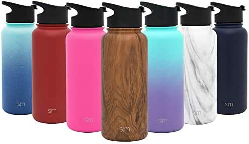 Simple Modern 18 Ounce Summit Sports Water Bottle - Travel Mug Stainless Steel Tumbler Flask +2 Lids - Wide Mouth Double Wall Vacuum Insulated Brown Leakproof Pattern: Wood Grain