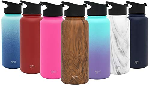 Simple Modern 22oz Summit Water Bottle - Stainless Steel Starbucks Flask +2 Lids - Wide Mouth Double Wall Vacuum Insulated Leakproof Pattern: Wood Grain - Cam Pickup