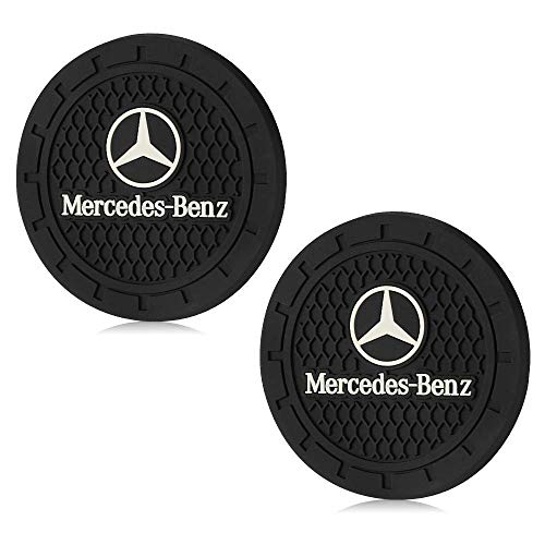 CARFORU 2 Pack Auto Sport 2.75 Inch Diameter Oval Tough Car Logo Vehicle Travel Auto Cup Holder Insert Coaster Can Car Interior Accessories Anti Slip Cup Mat Fit for Mercedes Benz Accessory