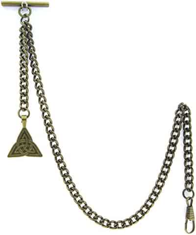 Albert Chain Pocket Watch Curb Link Chain Antique Brass Plating Fob T Bar AC29