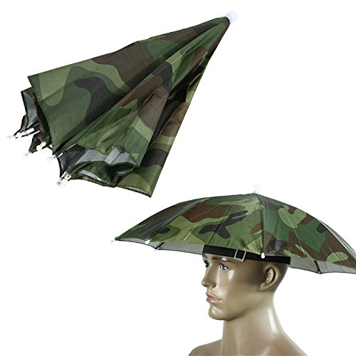 Jellyfish Costume Using Umbrella (Umbrella Hat For Adults Portable 55cm Usefull 2 Colors Sun Shade Camping Fishing Hiking Festivals Outdoor Brolly Amazing Protect Your Head Beach (Camo))