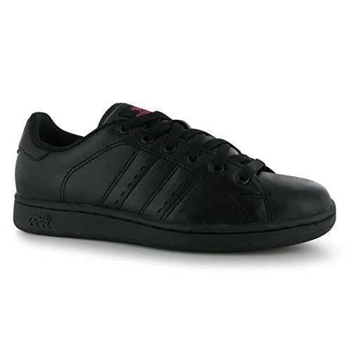 Lonsdale Womens Leyton Ladies Lace Up Sport Cushioned Shoes Casual Trainers Black/Cerise ckOB66z
