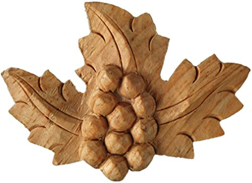 Small Grape and Vineleaf Motif. Hand Carved in Solid Natural Pinewood. Piece. by Wild Goose Carvings