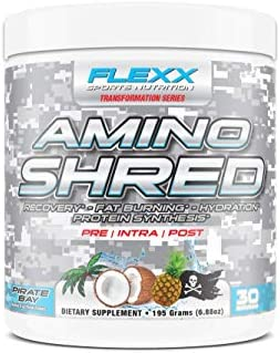 Flexx Amino Shred – Performance Amino Acids with 5 Grams BCAAs, IntraWorkout Muscle Recovery, Fat Burning, Hydration and Protein Synthesis Pirate Bay, 30 Servings