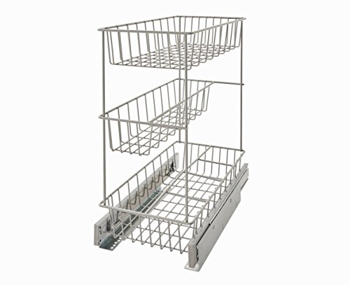 ClosetMaid 32105 Premium Wide 3-Tier Compact Kitchen Cabinet Pull-Out Basket, 8.75-Inch