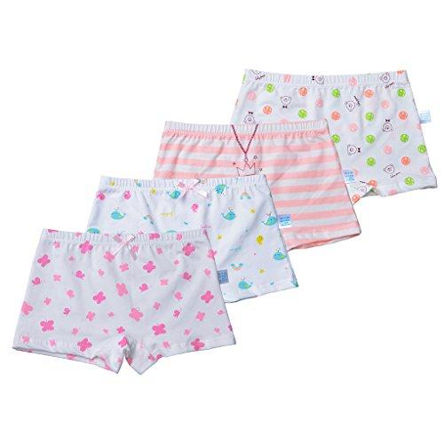 (Toddler Girls Underwear Cotton Boyshort Hipster Princess Panties Kids Briefs Stripes Dolphin Balls Butterfly Patterns White Size L/6-8 Years)