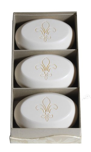 Signature Freesia Scent - Personalized Signature Scented Soap Trio Bar Box Gift Set Personalized with a Fleur De Lis Graphic - Scent: Freesia - New Hope Soap