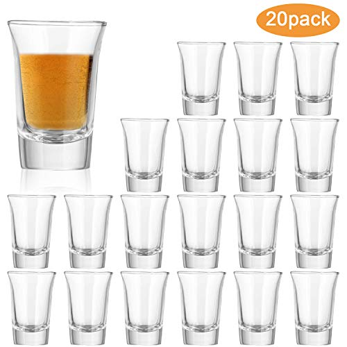 1.2 Ounce Heavy Base Shot Glass Set,QAPPDA Whisky Shot Glasses 1.2 oz,Mini Glass Cups For liqueur,Double Side Cordial Glasses,Tequila Cups Small Glass Shot Cups Set Of 20 KTY1501