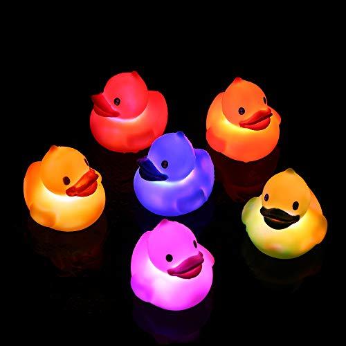 Fun Central 6 Pack | Light-up Rubber Ducks | Liquid Activated Duckies Bulk Bath Toys (Bath Rubber Duckie Toy Duck)