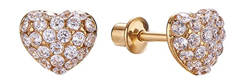 Screw Back Crystal Domed Heart Girls Cute Stud Earrings for Kids by Regetta Jewelry - Stainless Steel for Sensitive Ears - Screwbacks Stays Secure in Kids Ear.