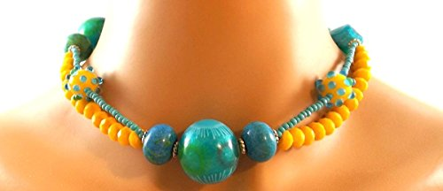 Teal and Yellow Necklace Set - Gemstone, Shell,Crystal, and Lampwork, Choker, Bracelet, and Earring (Stunning Shell Bracelet)