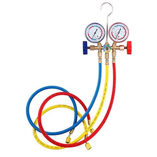 🥇 KKmoon Refrigerant Manifold Gauge Set Herramientas de aire acondicionado con manguera y gancho para R12 R22 R404A R134A