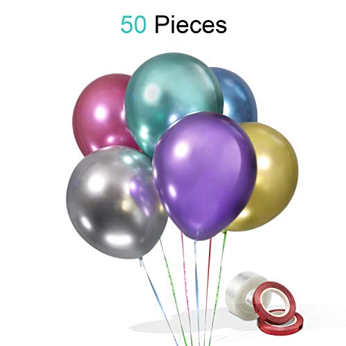 50pcs Metallic Balloons 12 Inches as Birthday Balloons or Party Balloons for Kids Girls Boys Birthday Party Weddings Engagements Graduation Latex Balloons Assorted Colorful]()