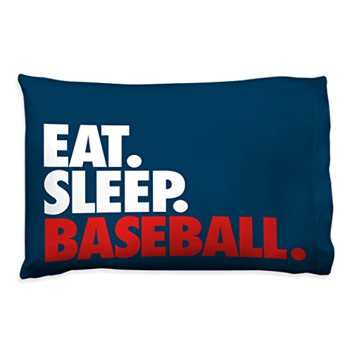 Eat Sleep Baseball Pillowcase | Baseball Pillows by ChalkTalk Sports | Navy
