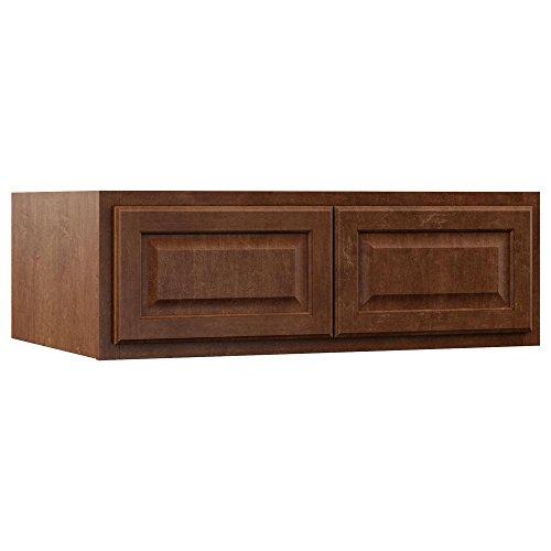 Hampton Bay KW361224-COG Assembled 36x12x24 in. Above Refrigerator Deep Wall Bridge Kitchen Cabinet in Cognac ()