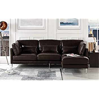 Amazon.com: Leather Sectional Sofa, L-Shape Couch with ...