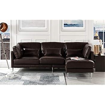 Amazon.com: Baxton Studio piel Dobson moderno Seccional sofá ...