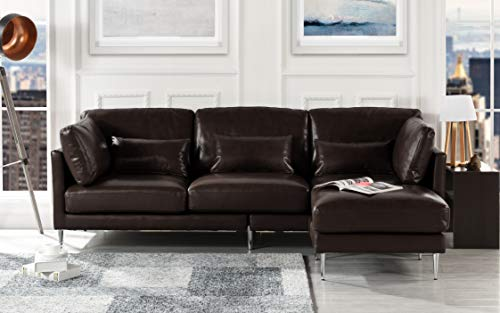 Modern Leather Sectional Sofa, L Shape Couch (Dark Brown) (Shape L Sofa Leather)