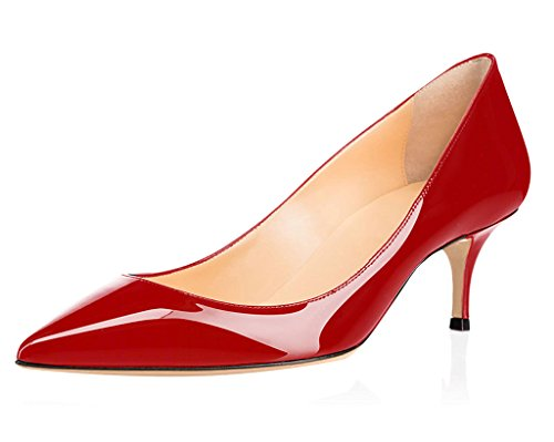 ELASHE Women Kitten Heels Pumps   Pointed Toe Stiletto   6.5cm Classic Court Shoes 1#Red erS9gCG