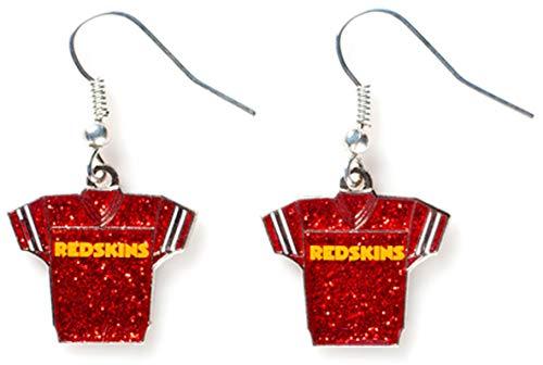 (NFL Washington Redskins Glitter Jersey Earrings)