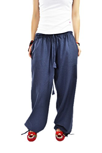 AvaCostume Women's Comfortable Gym Yoga Wide Linen Drawstring Pants Large Grey Blue