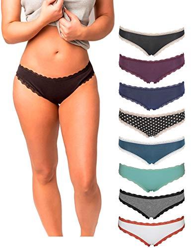 Emprella Cotton Underwear Women, 8 Pack Womens Bikini Seamless Ladies Cheeky Panties S-XL