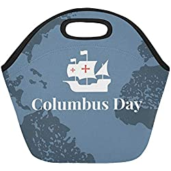 Insulated Neoprene Lunch Bag Template Banner Columbus Day Ships Atlantic Large Size Reusable Thermal Thick Lunch Tote Bags For Lunch Boxes For Outdoors,work, Office, School