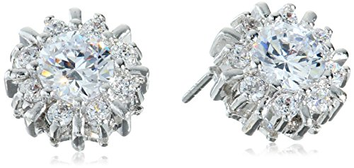 CZ by Kenneth Jay Lane Basic Round Cubic Zirconia Pierced Pinwheel Halo Stud Earrings