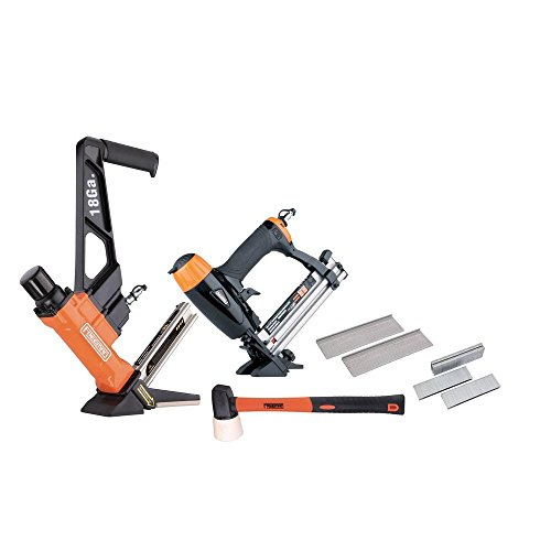 Freeman P2PFK14 Professional Pneumatic Flooring Nailer Kit with Fasteners 2-Piece L-Cleat Flooring Nailer, 4-in-1 Mini Flooring Nailer and Stapler, and Rubber No-Mar Mallet