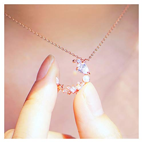 WingBling Crescent Moon Stars Goddess Luna Rose Gold Necklace for Women Dainty Made with Swarovski Crystal Pearl in Korea l Chain Pendant Style l Jewelry Gift Friendship Phase (Pink Color)
