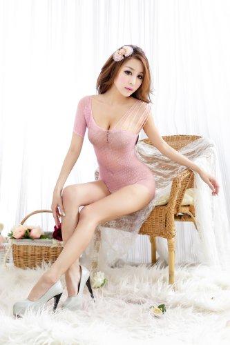 TM Women's Temptation Sexy lingerie Coverall pink Open Crotch Nightwear Uniform