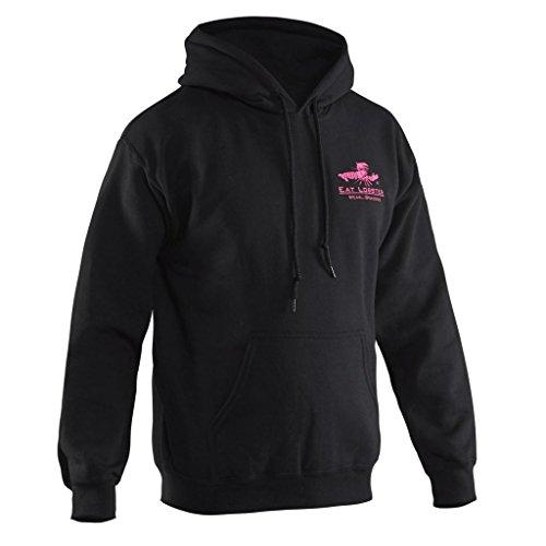 (Grundéns Youth Eat Lobster Hooded Sweatshirt, Black w/Pink Logo - Small)