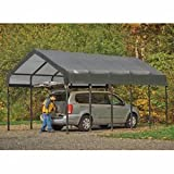 ShelterLogic 12x20x10 Square Tube CarPorts, Grey Cover