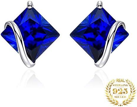 NOBRAND Aretes De Plata Mujer Aretes De Zafiro Azul Pendientes De Plata 925 Pendientes De Piedras Preciosas para Mujer Joyas De Moda