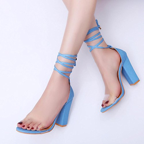 Open Shoes Toe Ankle Fashion Sandals Blue Party Block High Ladies Women Sandals Heels hunpta qvxw7PCU7