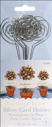 Darice VL12165 Wedding Circle Swirl Place Card Holder Pick, 6-Inch, Silver, 6 (Topiary Card)