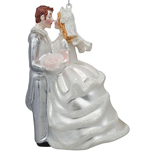 BestPysanky Bride & Groom Wedding Kiss Blown Glass Christmas Ornament 4 Inches