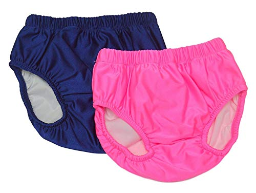 My Pool Pal Big Girls' 2 Pack Swim Brief/Diaper Cover, Pink/Navy, Large