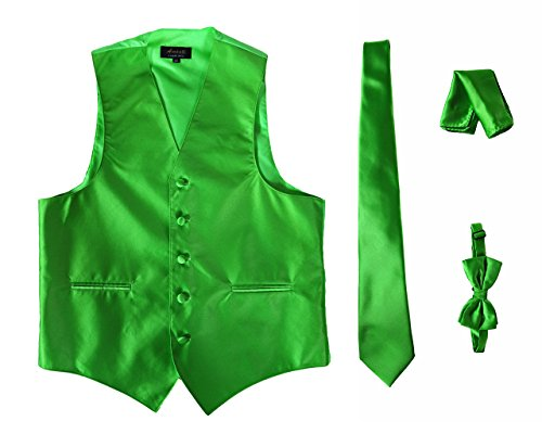 Amanti - Men's 4pc Set Solid Tuxedo Vest Vest / Tie / Hanky / Bow Tie (XL, Apple (Vest And Bow Tie)