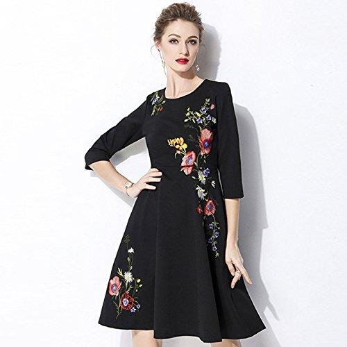 ZHUDJ Las Mujeres De Gran Tamaño _ Primavera Verano Vestido Bordado Funda Siete Mujeres De Gran Tamaño Slim Slim Sleeve 6685